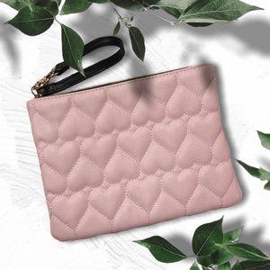 Betsey Johnson XL Quilt Heart Blush Pink Wristlet